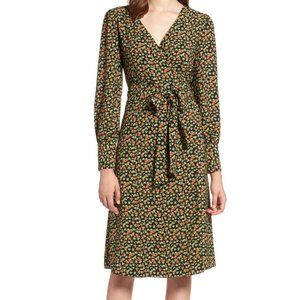 Halogen Long Sleeve Wrap Midi Dress Small